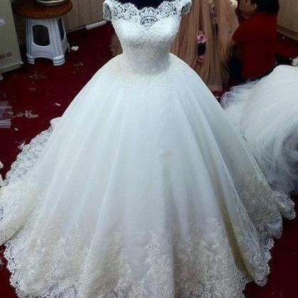 Cap Sleeves Lace Bridal Dresses Bea..