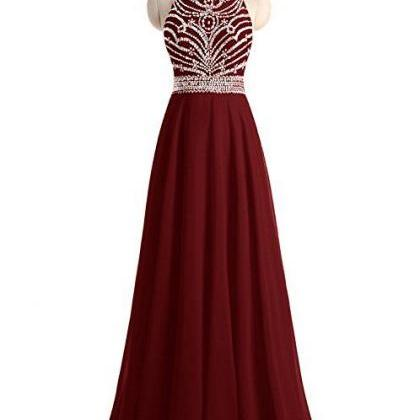 Beaded Prom Dress,Burgundy Prom Dre..