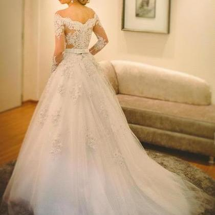Long Sleeve Wedding Dresses,Appliqu..