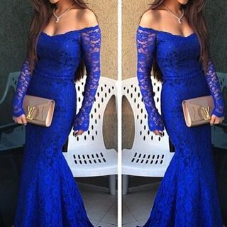 Royal Blue Prom Dress, Lace Prom Dr..