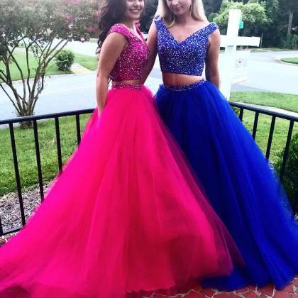 Crystal Beaded Bodice Prom Dress, T..