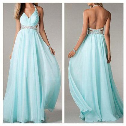 Blue Halter Prom Dress, Open Back E..