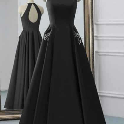 Simple Black Satin Open Back Long ..