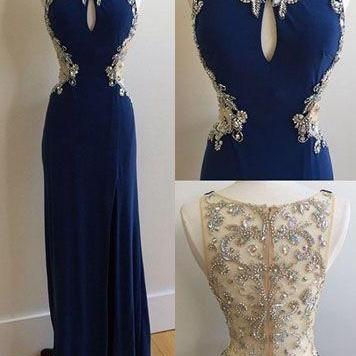 Royal Blue Prom Dress,Beaded Prom D..