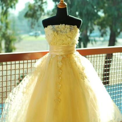 Floral Prom Dress,Yellow Prom Dress..