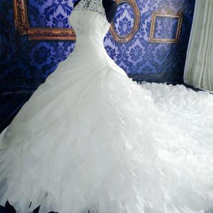 White Prom Dress,Halter Prom Dress,..