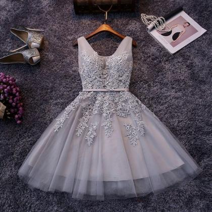 Grey Prom Dress,Applique Prom Dress..