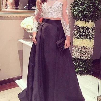 Two Pieces Prom Dress,Beaded Prom D..
