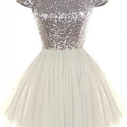 Sequins Prom Dress,Short Sleeves Pr..