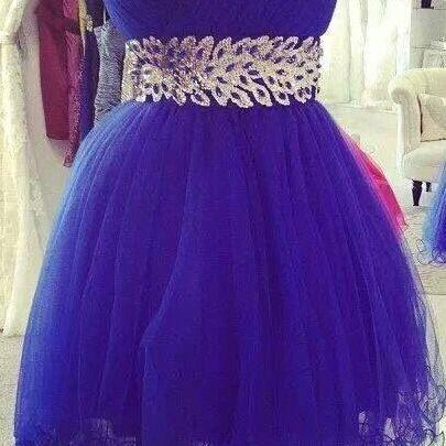 Royal Blue Prom Dress,Illusion Prom..
