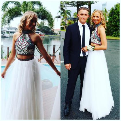 Embroidery Prom Dress,Two Pieces Pr..