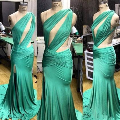 One Shoulder Prom Dress,Split Prom ..