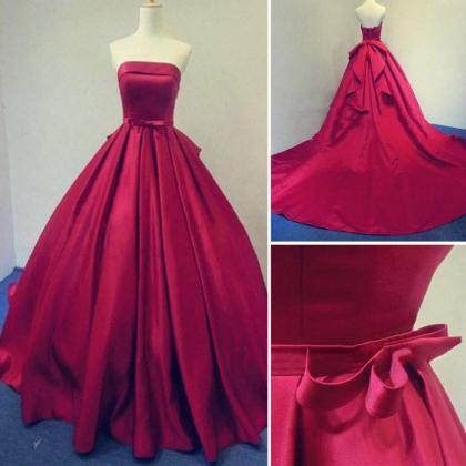 Strapless Prom Dress,Bowknot Prom D..