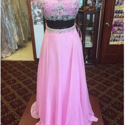 Beaded Prom Dress,Two Pieces Prom D..