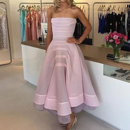 Pink Prom Dress,Strapless Prom Dres..