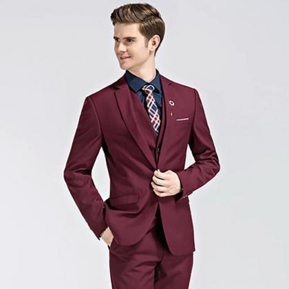 Burgundy Men Suiting, New Style Eve..