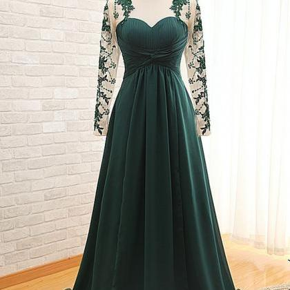 Green Prom Dress,Lace Long Sleeve P..