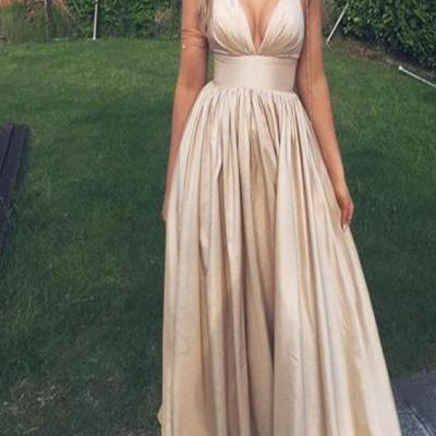Champagne Halter Prom Dress, Spaghetti Straps V-Neck Prom Dress, Long A-line Prom Dress