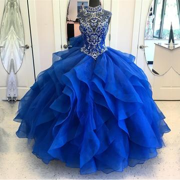High Neck Crystal Beaded Bodice Corset Organza Layered Quinceanera Dresses Ball Gowns 2018