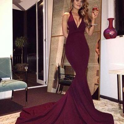 Gorgeous Mermaid Evening Dress, V-Neck Prom Dress, Burgundy Sweep Train Prom Dress