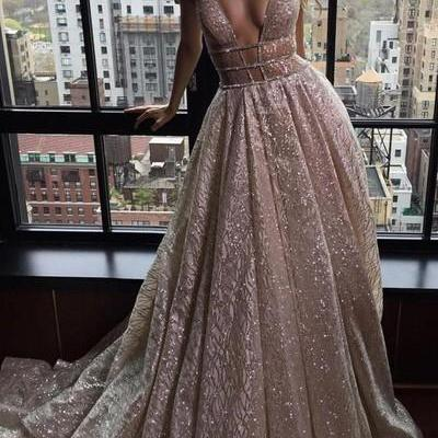 f0a21cd8e9 Sexy Deep V-neck Sleeveless Court Train Prom Dress Backless With Sequins