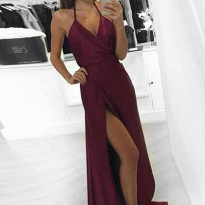 Sexy V-Neck Split-Front Burgundy Floor-Length Prom/Evening Dress
