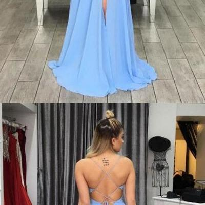 Simple Prom Dress, Blue Prom Dress, V Neck Prom Dress, Backless Evening Dress