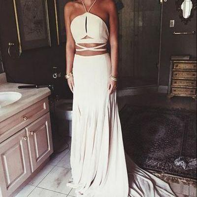 White Two Piece Prom Dress, Halter Long Prom Dress, Sweep Train Prom Dress
