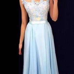Simple Light Blue Prom Dress, Lace Long Evening Dress, Modest Chiffon Prom Dress