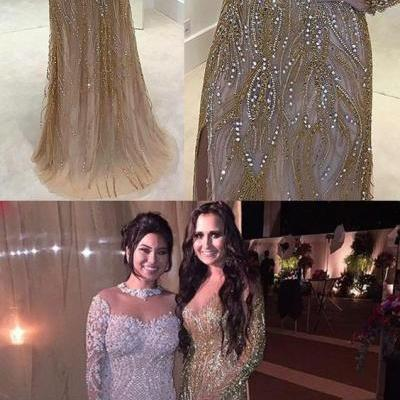 Sheath Prom Dresses,Illusion Prom Dresses,Bateau Prom Dresses,Light Champagne Prom Dresses,Tulle Prom Dresses,Prom Dresses with Beading,Charming Prom Dresses,Party Prom Dresses,Prom Dresses