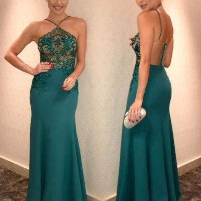 Green Halter Prom Dress, beading Long Party Dress, Backless Stain Evening Dress