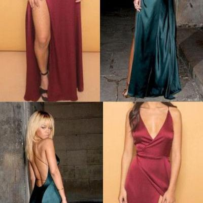 Deep V Neck Open Back Prom Dress, Evening Gowns With Slit 51736