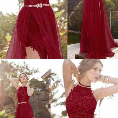 2932f8f5f31f Charming Burgundy Tulle Round Neck A-Line Long Prom Dress 51940
