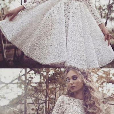 White Homecoming Dress, Round Neck Homecoming Dress, Lace Homecoming Dress 413