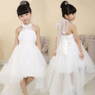bafd50beee5 Cute Halter Princess Hi-Low Organza White Flower Girl Dress with Bow-knot  887