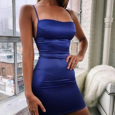 Roayl Blue Spaghetti Straps Sleeveless Short Homecoming Dress