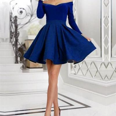 Short Satin Ruffles Prom Homecoming Dresses With Long Sleeves,A-line Homecoming Dresses