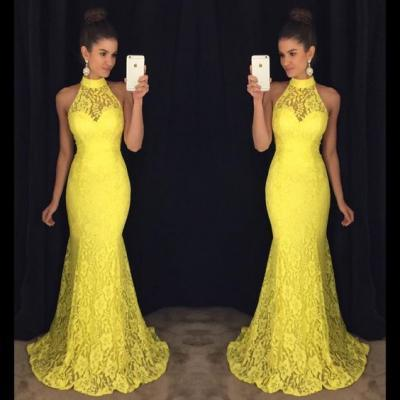Yellow Prom Dress,Mermaid Prom Dress,Lace Prom Dress,Fashion Prom Dress,Sexy Party Dress,Custom Made Evening Dress