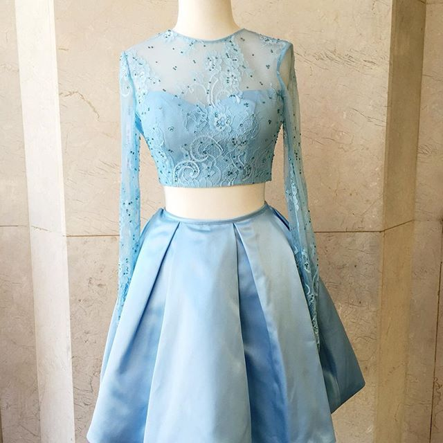 High Fashion Two Piece Light Sky Blue Long Sleeves Short Homecoming