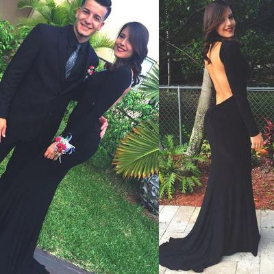 Mermaid Backless Prom Dress,Long Sleeve Prom Dress,Long Evening Dress