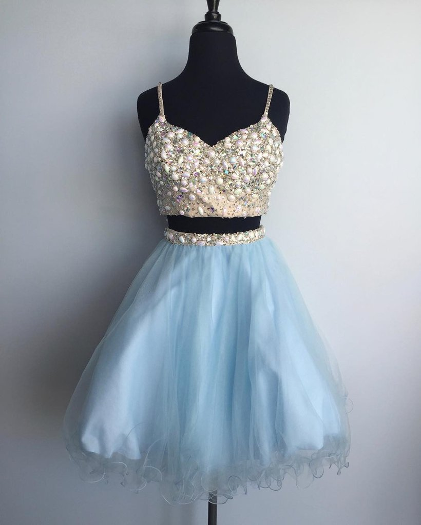 Blue Tulle Two Pieces Beaded Short Dress,cute Dresses For Teens on ...