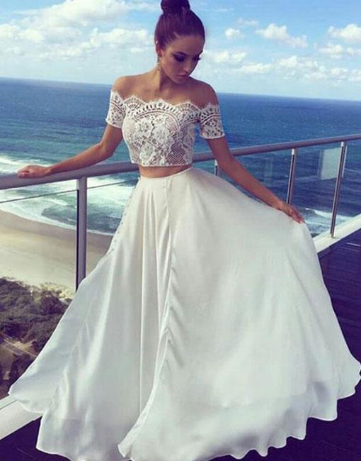 Simple White Two Piece Lace Long Prom Dress,New Arrival Evening ...