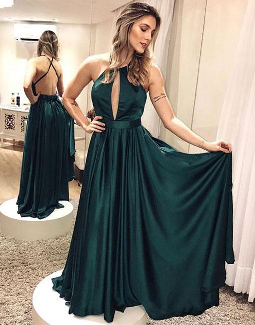 Simple Dark Green Backless Prom Dress 6bf0f9823