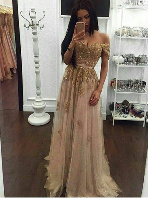 f44fc6325f4 Long Champagne Prom Dress