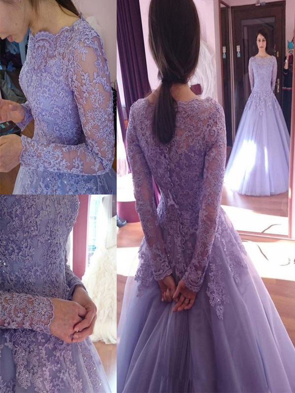 Long Purple Prom Dress, Long Sleeves Prom Dress, Lace Round Neck Prom Dress, Modest Prom Dress, Elegant Tulle Prom Dress