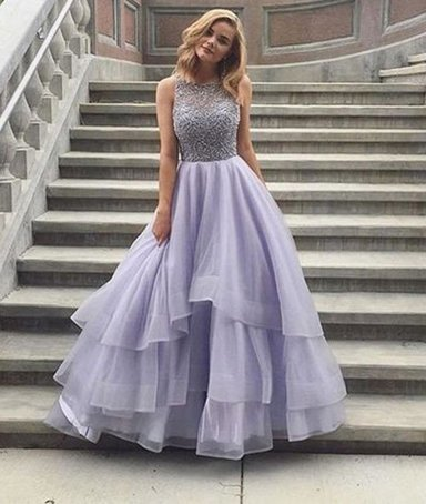 2fe31fc1 Pretty round neck prom dress, sequin long prom dress, light purple tulle  prom gown