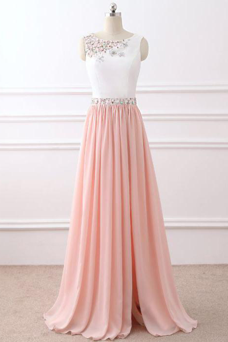 Elegant Long Prom Dress, A-line Chiffon Prom Dress, Pink Beading Prom Dress, Sleeveless Evening Dress