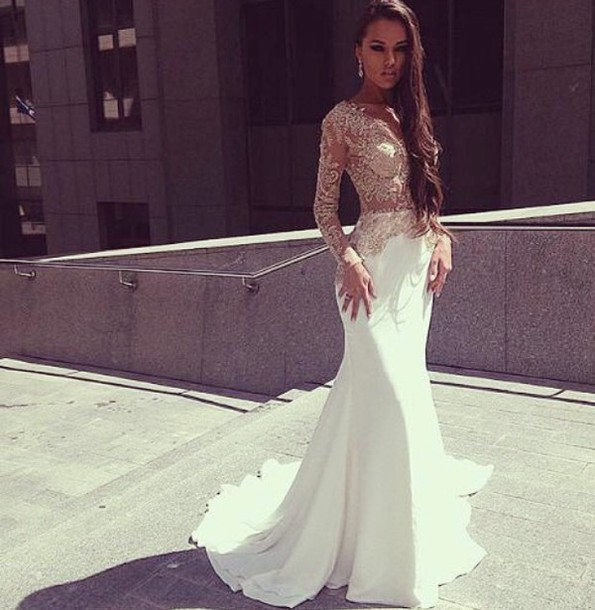 Charming Mermaid White Prom Dresses , Long Sleeves With Appliques ...