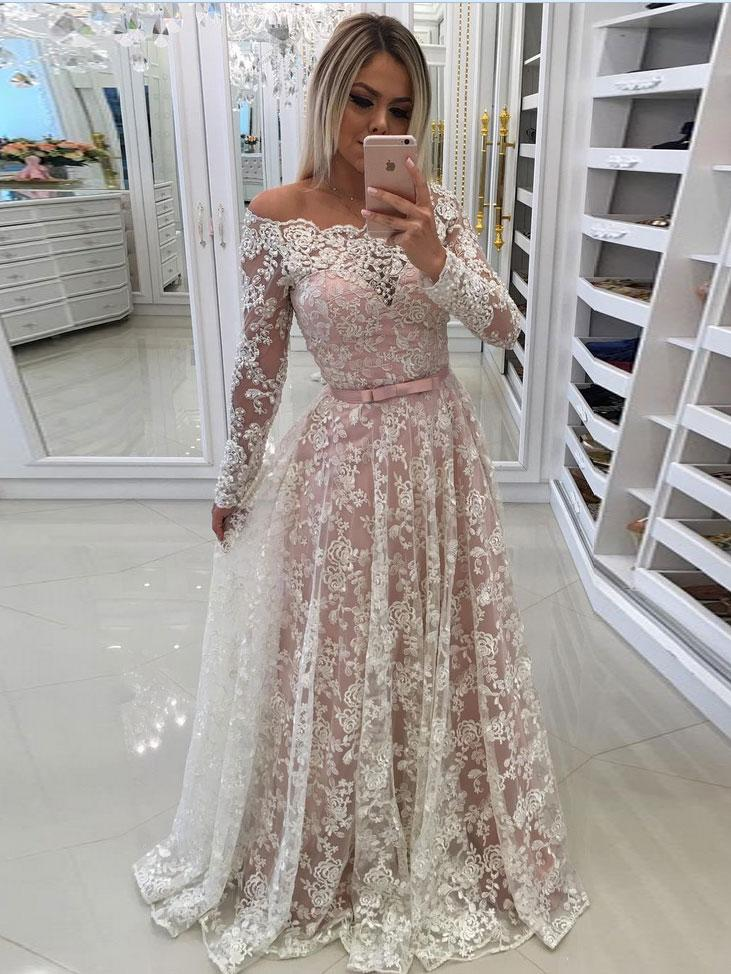 A Line Princess Ivory Lace Inside Long Sleeves Wedding Dresses Apd3034
