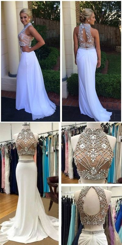New Fashion Elegant Two Piece White Long Beads Prom Dress Evening Dress Sparkly Evening Formal Gown